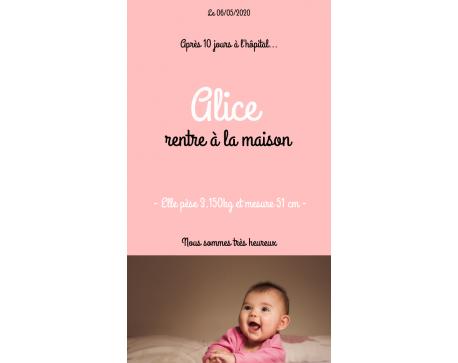 """Faire-Part Numérique """"Retour à la maison"""""""