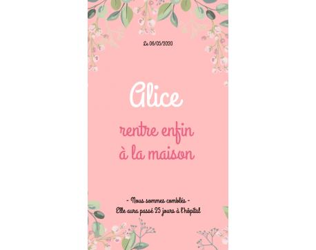 """Faire-Part Numérique """"Retour à la maison"""" - Fleurs"""