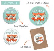 """Pack Duo/Jumeaux """"P'tit guerrier""""- Fille, Garçon, Mixte"""